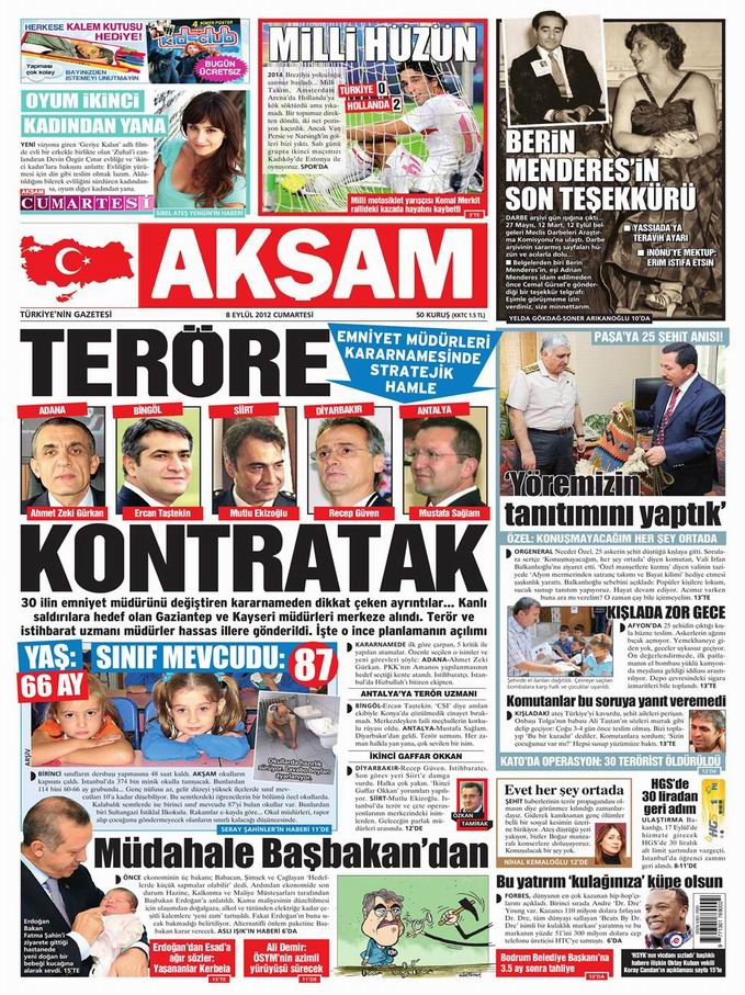Gazete Manşetleri - 8 Eylül Cumartesi 25