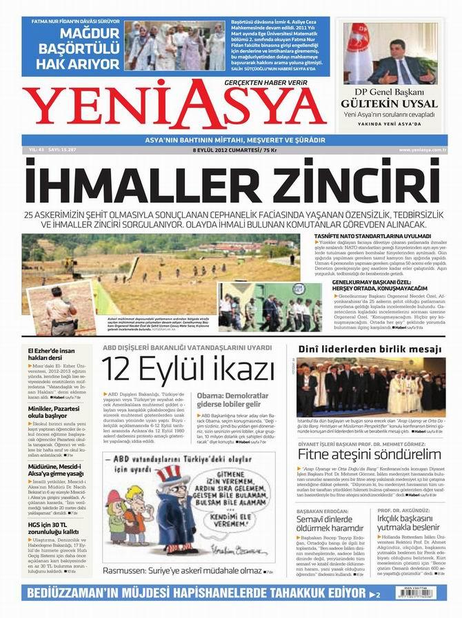 Gazete Manşetleri - 8 Eylül Cumartesi 3