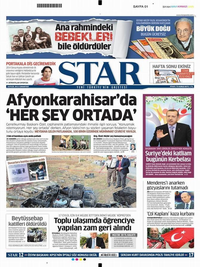 Gazete Manşetleri - 8 Eylül Cumartesi 9