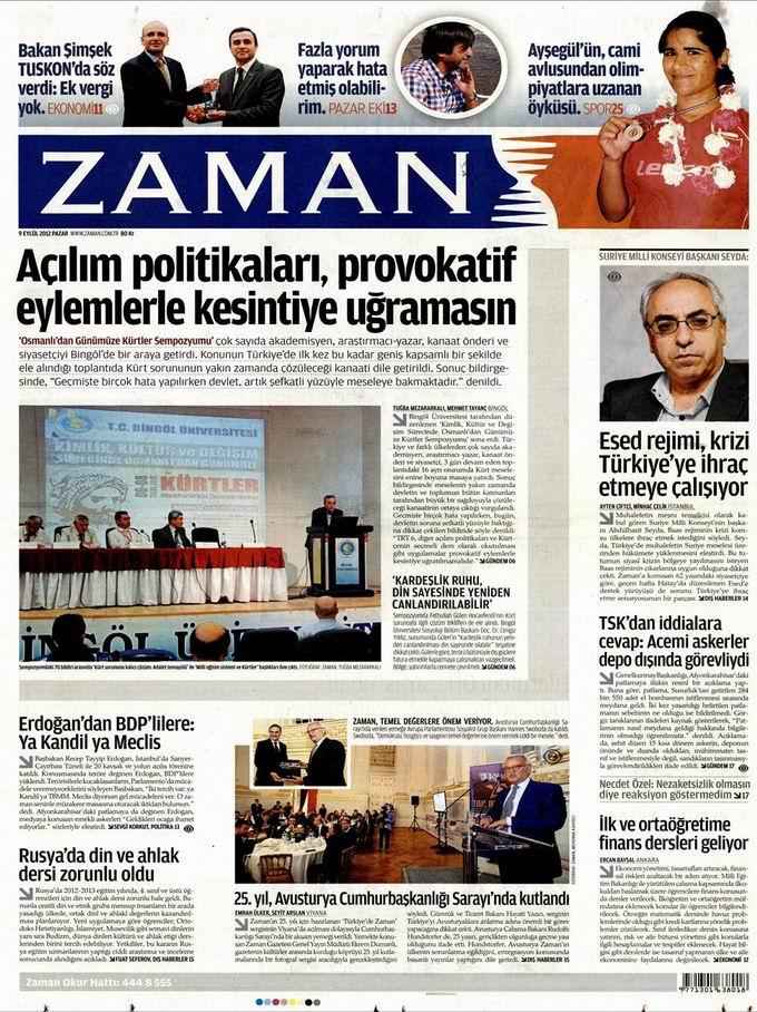 Gazete Manşetleri - 9 Eylül Pazar 1