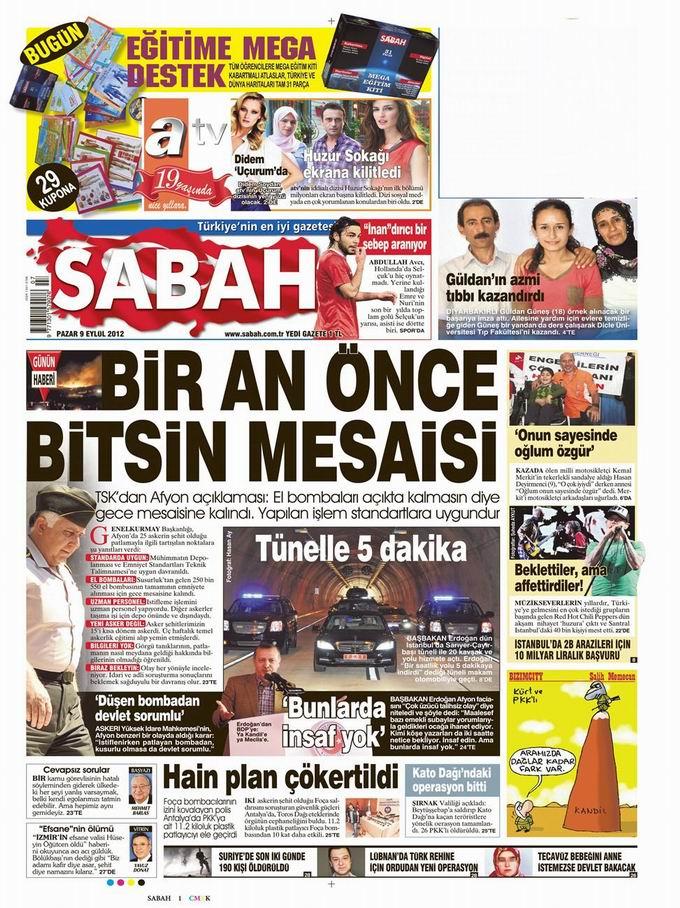 Gazete Manşetleri - 9 Eylül Pazar 10