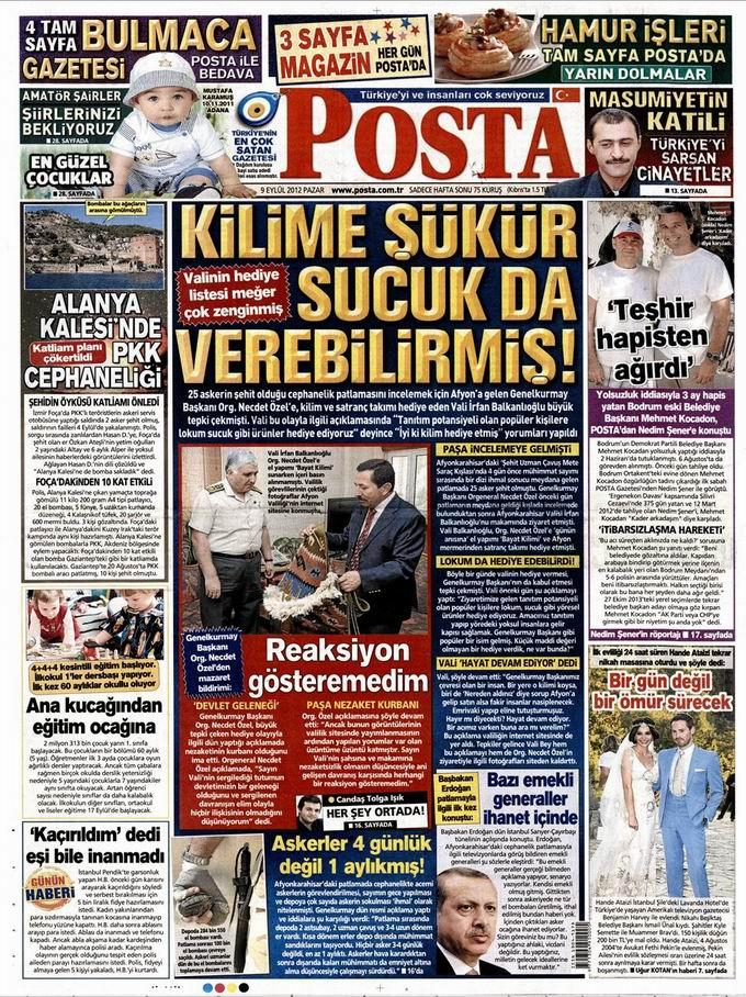 Gazete Manşetleri - 9 Eylül Pazar 12