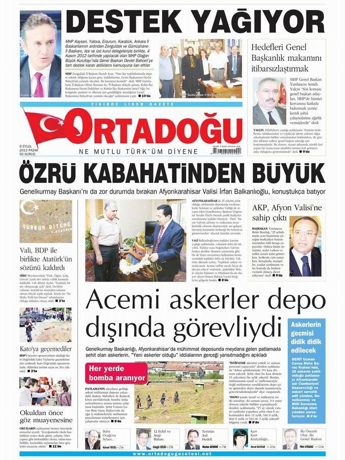 Gazete Manşetleri - 9 Eylül Pazar 13