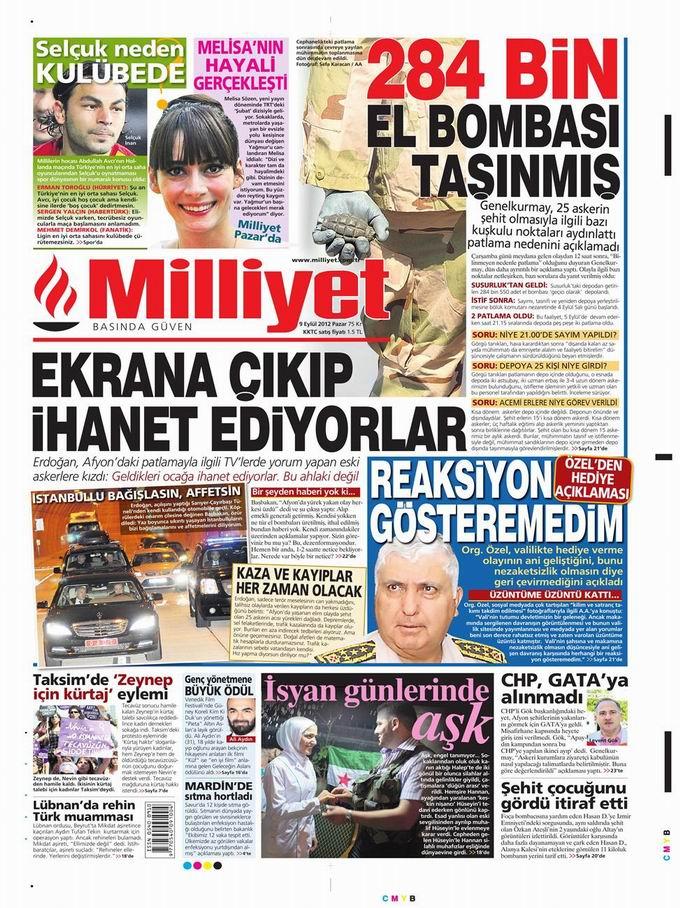Gazete Manşetleri - 9 Eylül Pazar 14