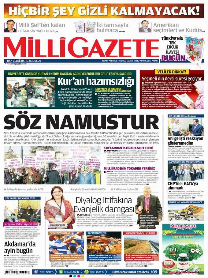 Gazete Manşetleri - 9 Eylül Pazar 15