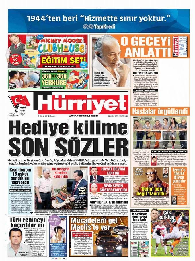 Gazete Manşetleri - 9 Eylül Pazar 16
