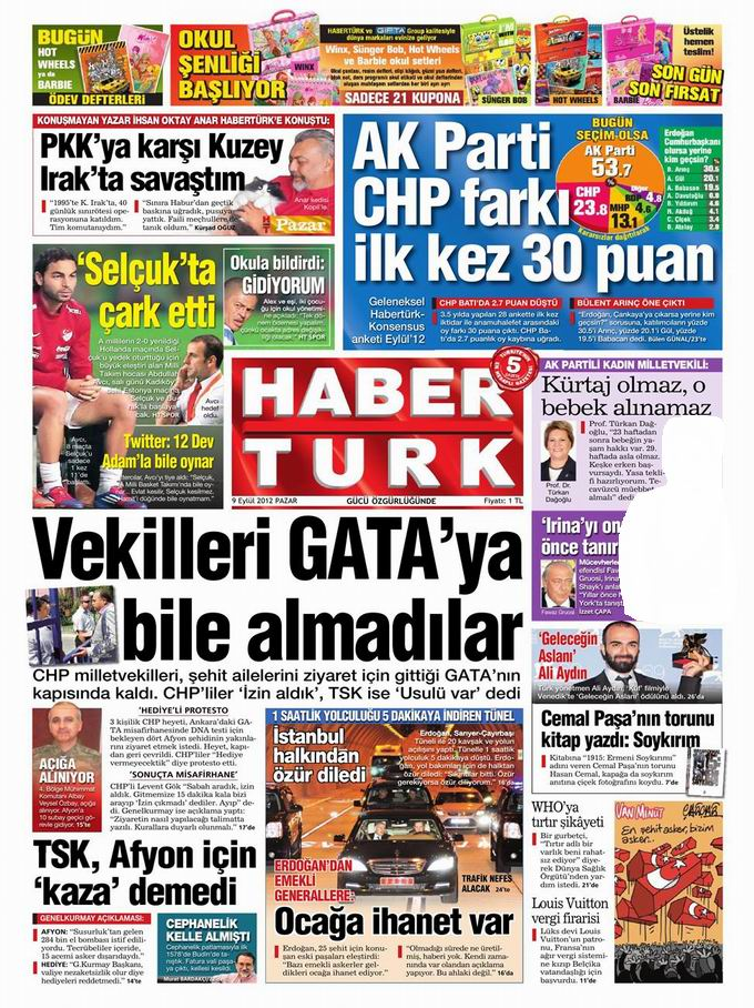Gazete Manşetleri - 9 Eylül Pazar 17