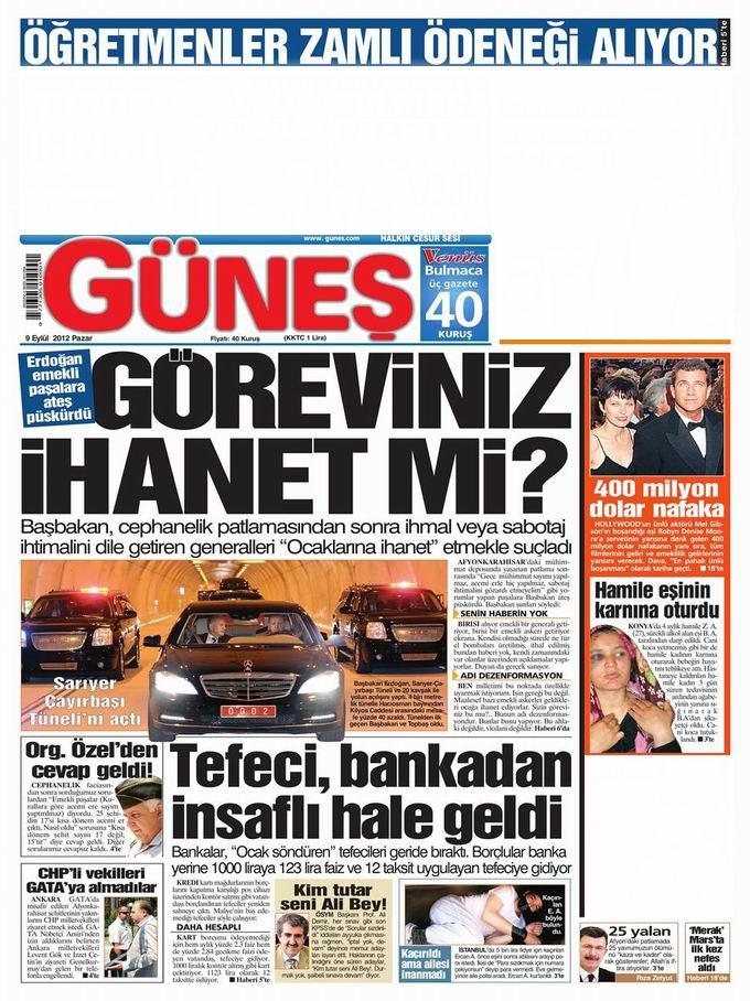 Gazete Manşetleri - 9 Eylül Pazar 18