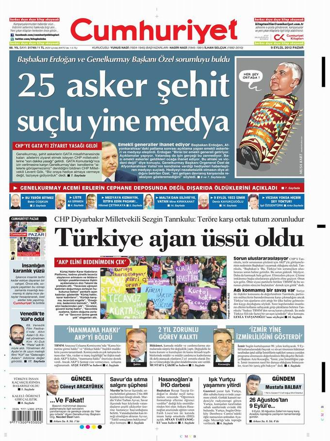 Gazete Manşetleri - 9 Eylül Pazar 19