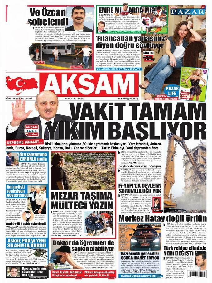Gazete Manşetleri - 9 Eylül Pazar 22