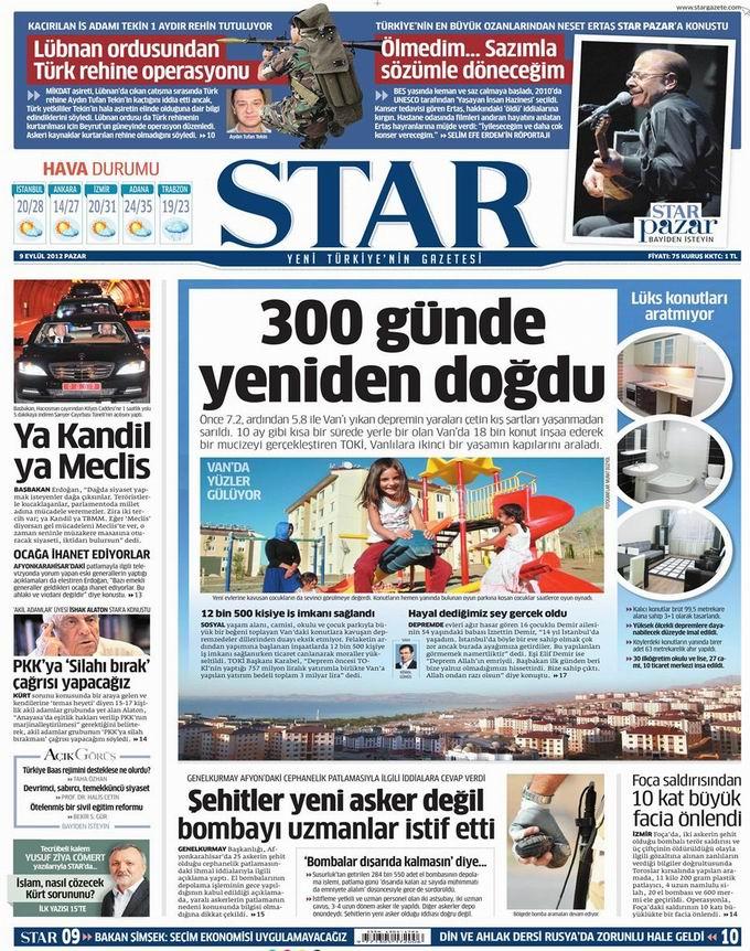 Gazete Manşetleri - 9 Eylül Pazar 8