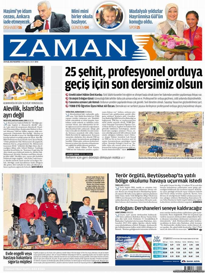 Gazete Manşetleri - 10 Eylül Pazartesi 1