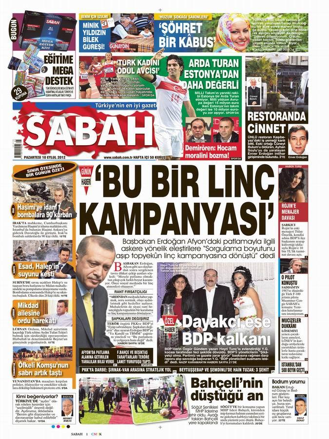 Gazete Manşetleri - 10 Eylül Pazartesi 11