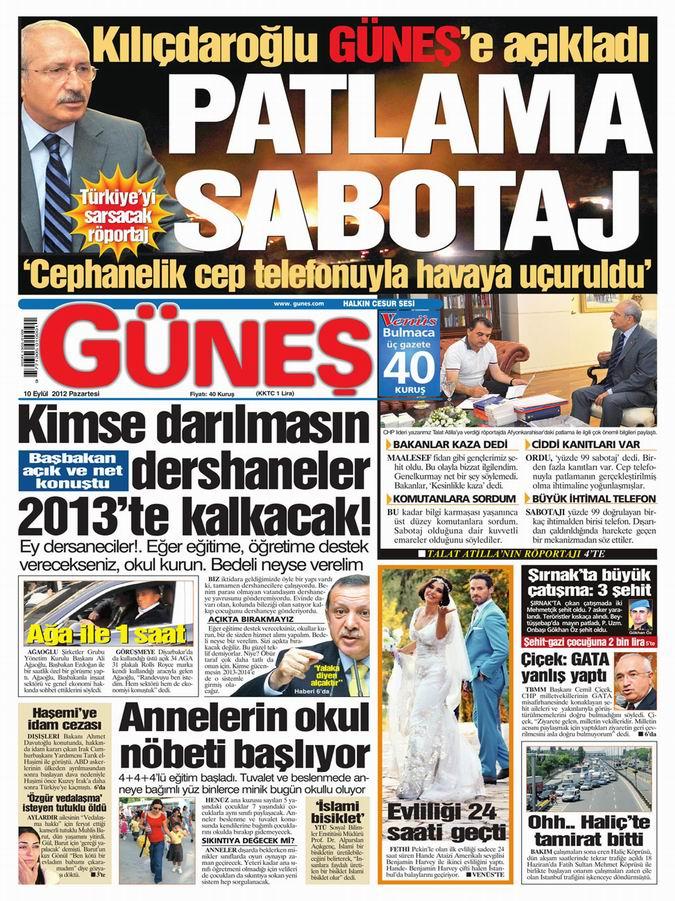Gazete Manşetleri - 10 Eylül Pazartesi 19