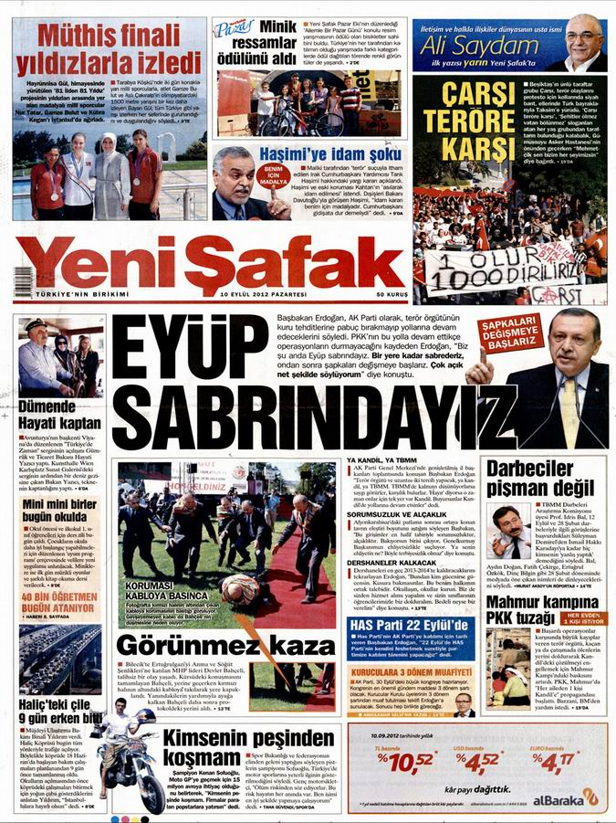 Gazete Manşetleri - 10 Eylül Pazartesi 2