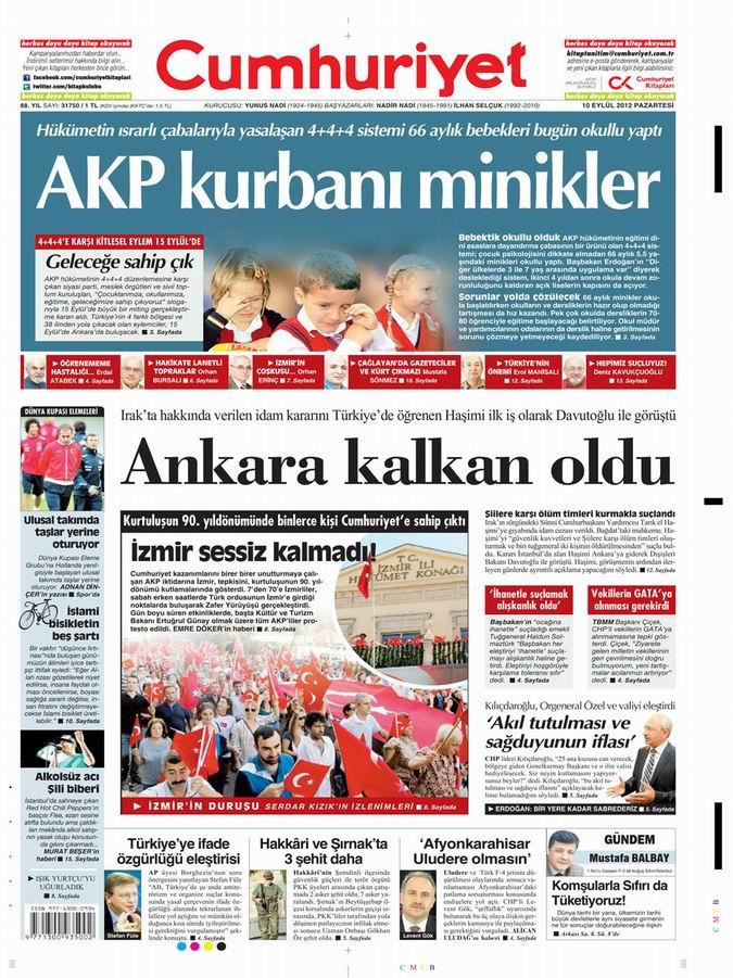 Gazete Manşetleri - 10 Eylül Pazartesi 20