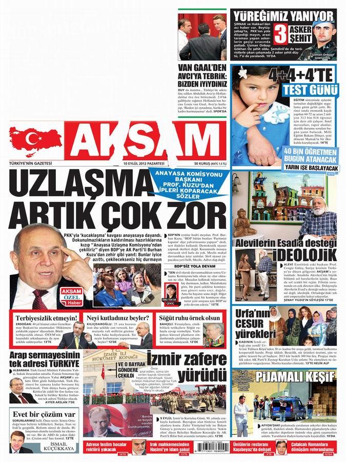 Gazete Manşetleri - 10 Eylül Pazartesi 22