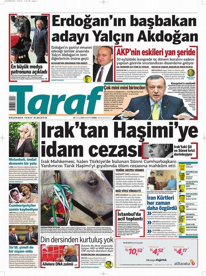 Gazete Manşetleri - 10 Eylül Pazartesi 8