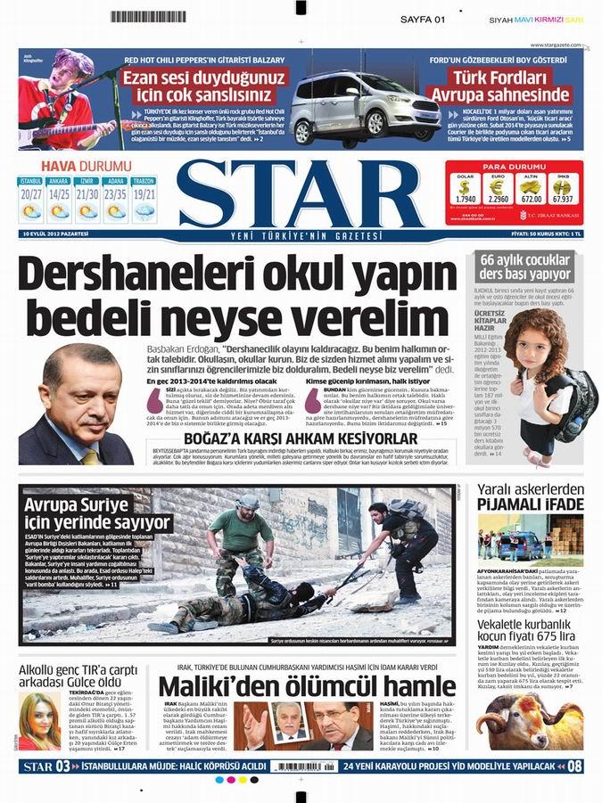 Gazete Manşetleri - 10 Eylül Pazartesi 9