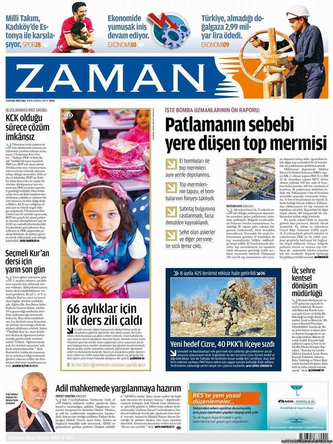 Gazete Manşetleri - 11 Eylül Salı galerisi resim 1