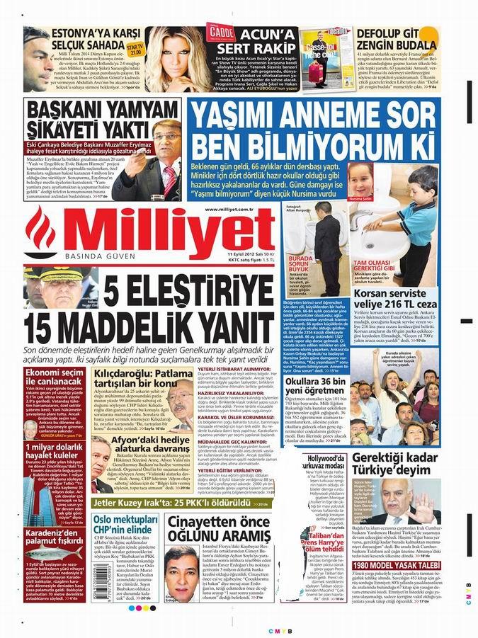Gazete Manşetleri - 11 Eylül Salı 15