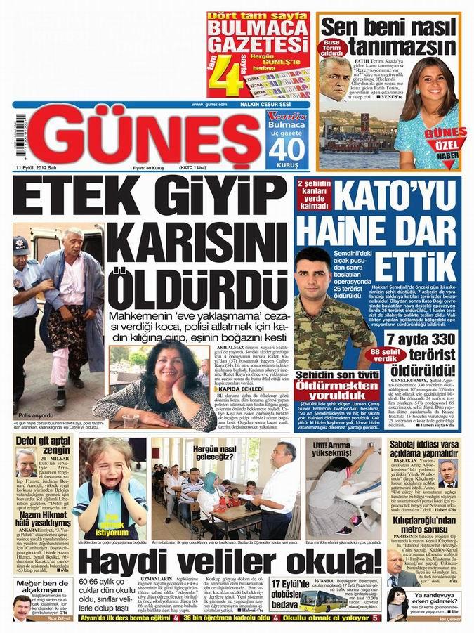 Gazete Manşetleri - 11 Eylül Salı 19