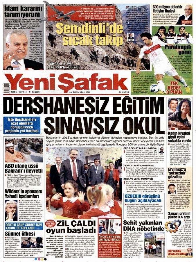Gazete Manşetleri - 11 Eylül Salı 2