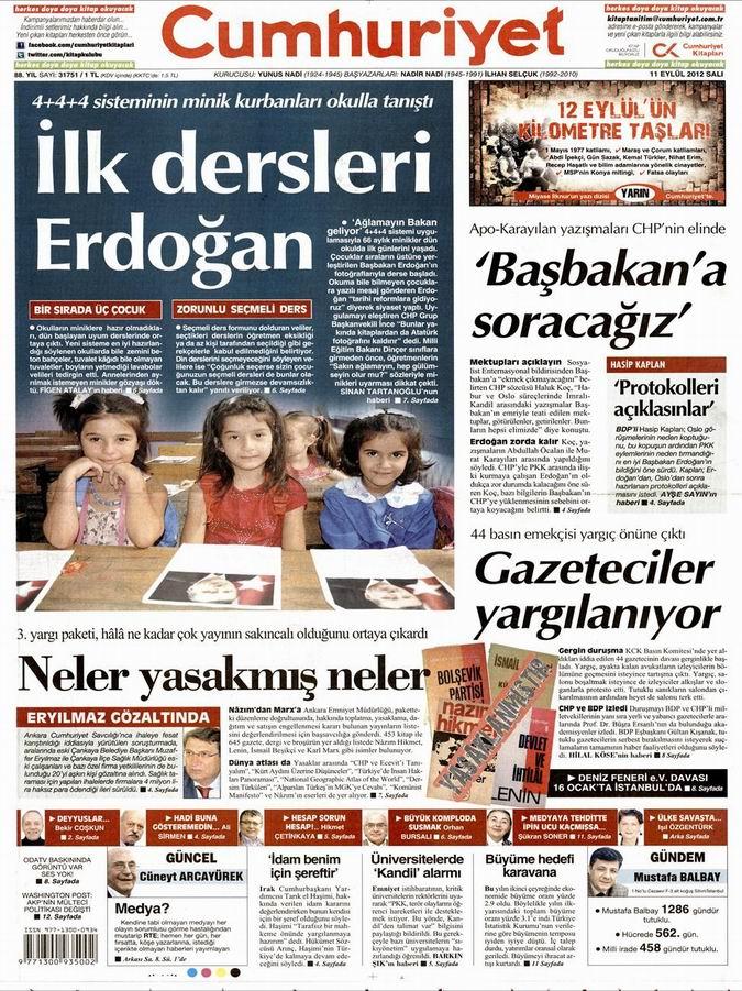 Gazete Manşetleri - 11 Eylül Salı 20