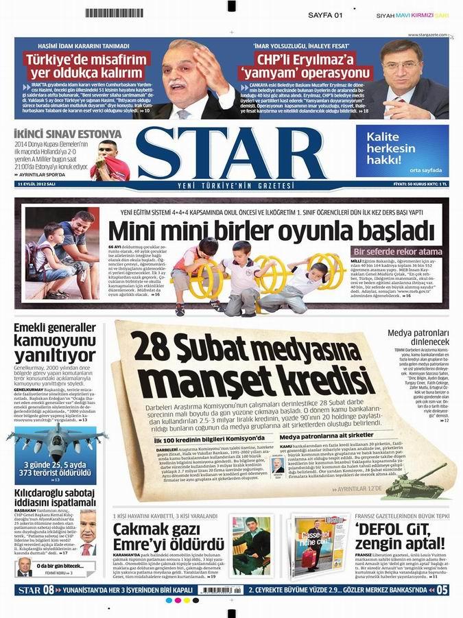 Gazete Manşetleri - 11 Eylül Salı 9