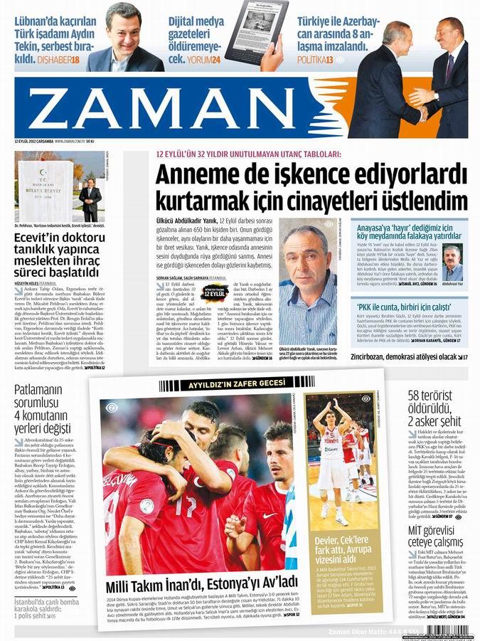 Gazete Manşetleri - 12 Eylül Çarşamba 1