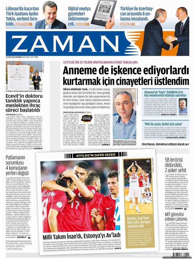 Gazete Manşetleri - 12 Eylül Çarşamba galerisi resim 1