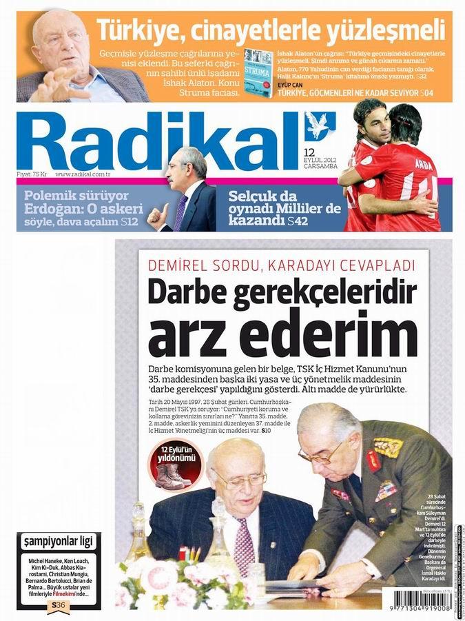 Gazete Manşetleri - 12 Eylül Çarşamba 12