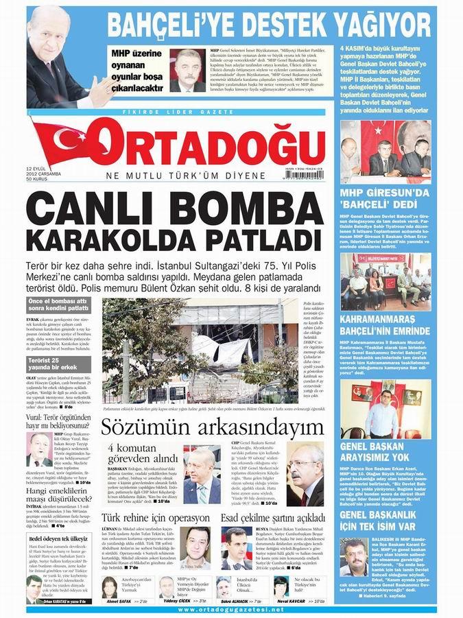 Gazete Manşetleri - 12 Eylül Çarşamba 14