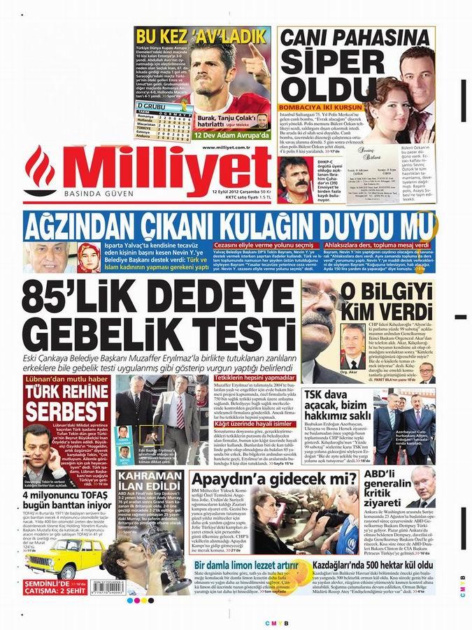 Gazete Manşetleri - 12 Eylül Çarşamba 15