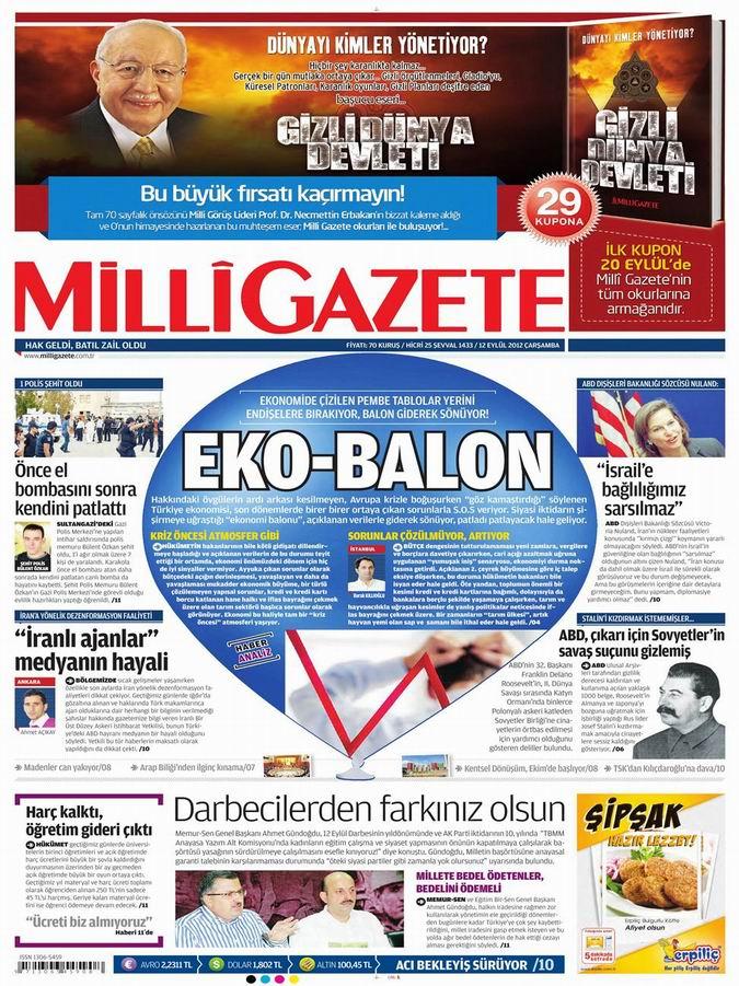 Gazete Manşetleri - 12 Eylül Çarşamba 16