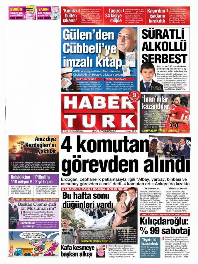 Gazete Manşetleri - 12 Eylül Çarşamba 19
