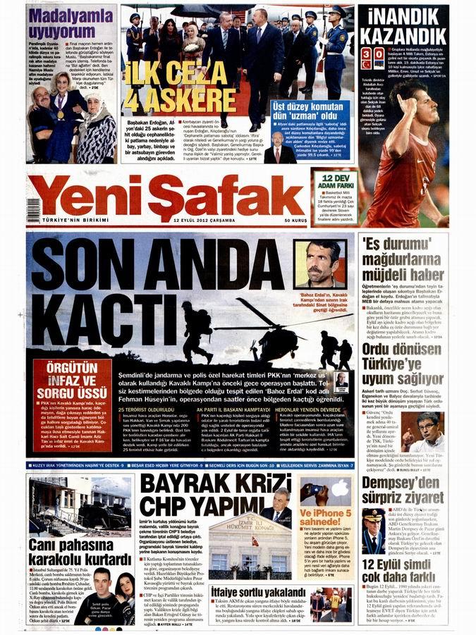 Gazete Manşetleri - 12 Eylül Çarşamba 2