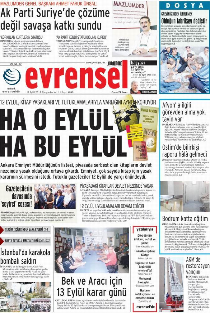 Gazete Manşetleri - 12 Eylül Çarşamba 21
