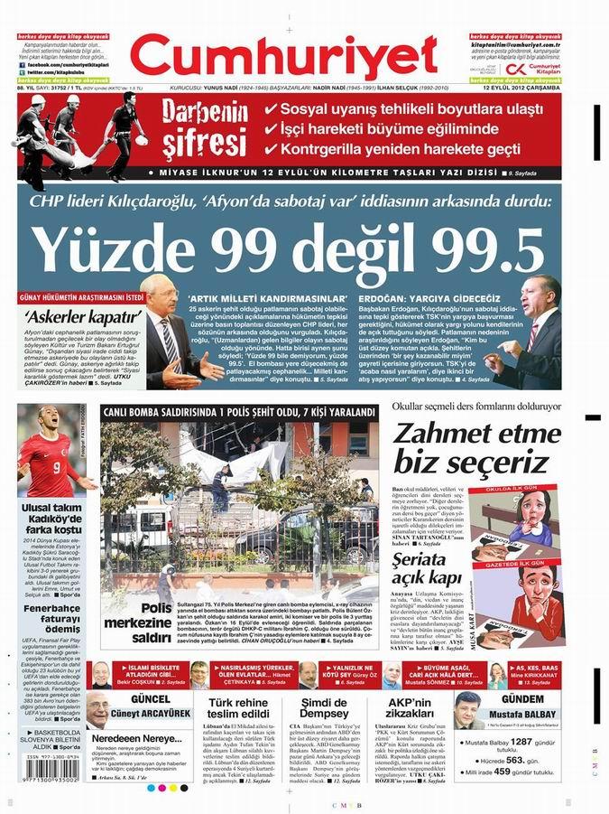 Gazete Manşetleri - 12 Eylül Çarşamba 22