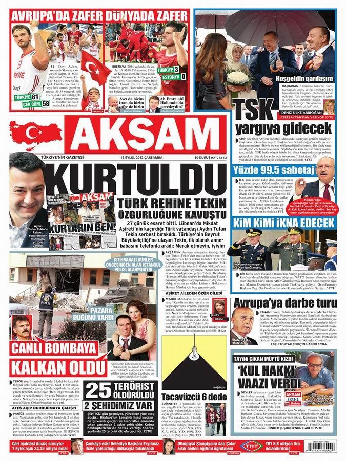 Gazete Manşetleri - 12 Eylül Çarşamba 25