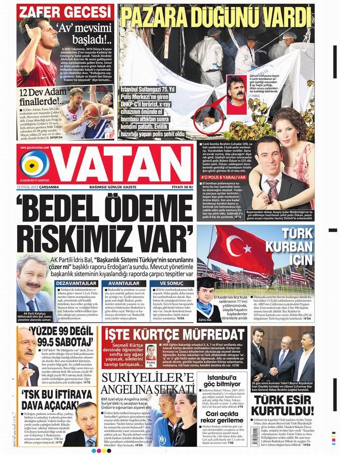 Gazete Manşetleri - 12 Eylül Çarşamba 5
