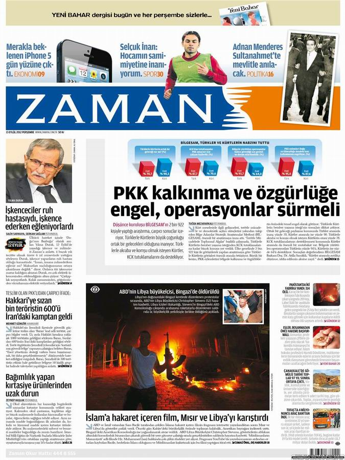 Gazete Manşetleri - 13 Eylül Perşembe 1