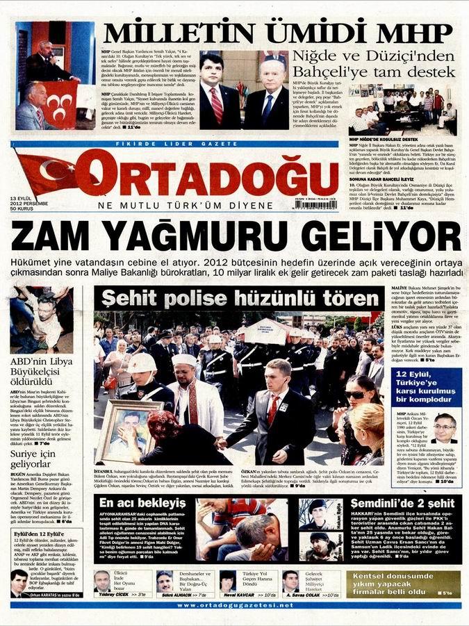 Gazete Manşetleri - 13 Eylül Perşembe 12