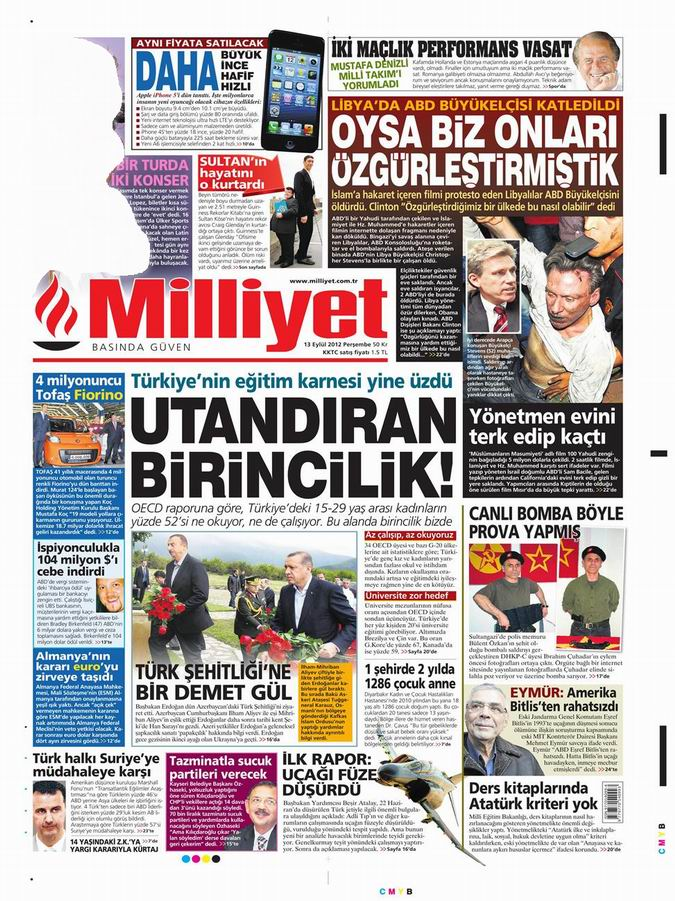 Gazete Manşetleri - 13 Eylül Perşembe 13