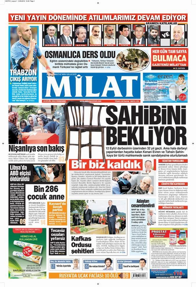 Gazete Manşetleri - 13 Eylül Perşembe 15