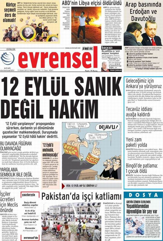 Gazete Manşetleri - 13 Eylül Perşembe 19