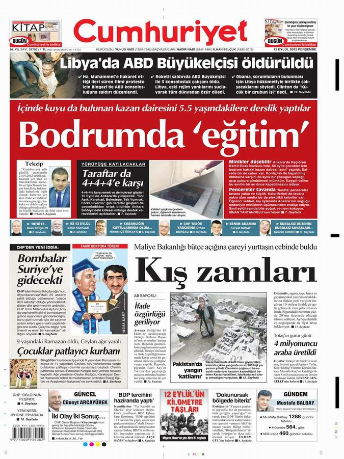 Gazete Manşetleri - 13 Eylül Perşembe 20