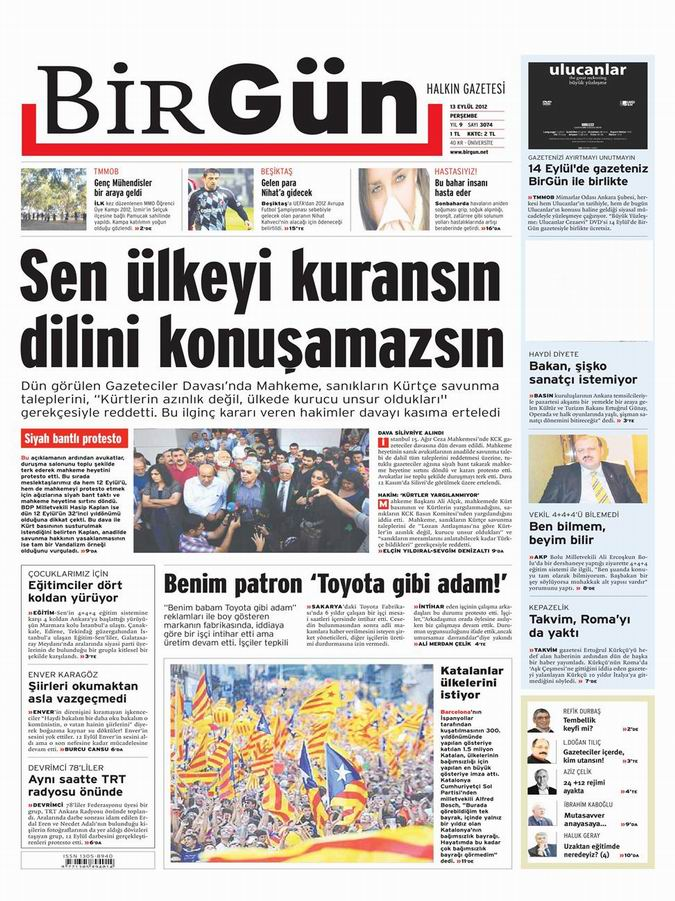 Gazete Manşetleri - 13 Eylül Perşembe 22