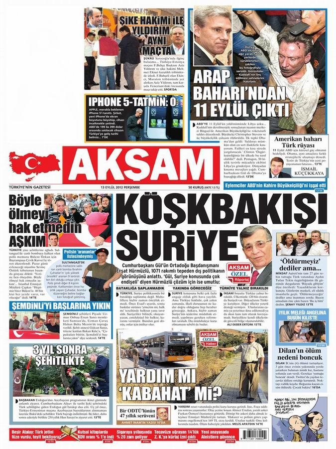 Gazete Manşetleri - 13 Eylül Perşembe 23