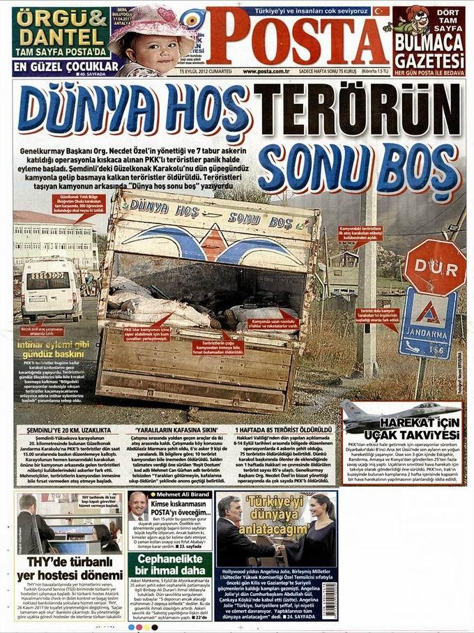Gazete Manşetleri - 15 Eylül Cumartesi 13